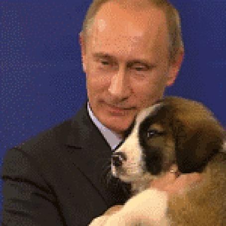 Анимация Президент России Владимир Владимирович Путин со своей собакой, болгарской овчаркой Баффи