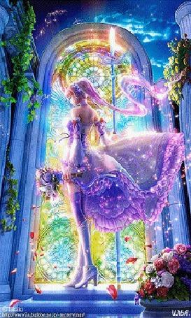 Анимация Девушка в фиолетовом платье, стоит на фоне мистических строений, а также роз и их лепестков и держит в руках букет с розами и волшебный посох, by Takaki