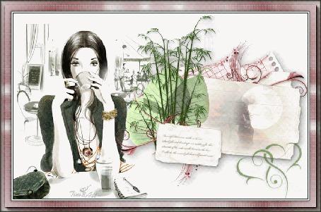 Анимация Девушка одинокая сидит в кафе, by tim2ati