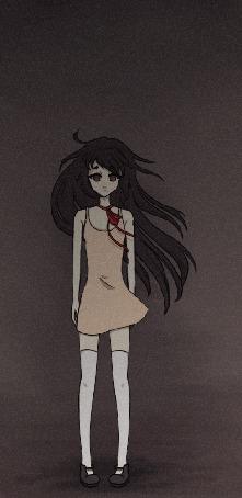 Анимация Грустная девушка с развевающимися длинными темными волосами, by Omenomicon