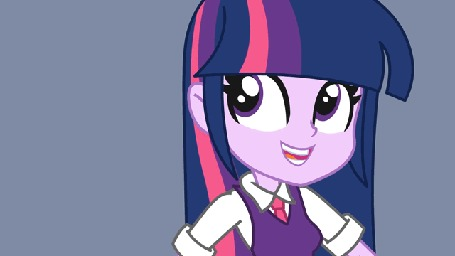 Анимация Твайлайт Спаркл / Twilight Sparkle из мультсериала Девушки Эквестрии / Equestria Girls играет на гитаре, by Khuzang