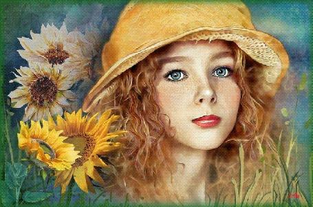 Анимация Девушка в шляпе стоит рядом с подсолнухами