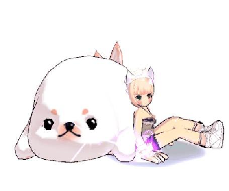 Анимация Светловолосая девушка сидит возле белого тюленя