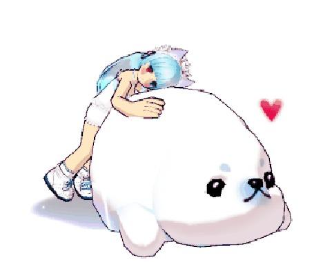 Анимация Девушка с голубыми волосами обнимает белого тюленя