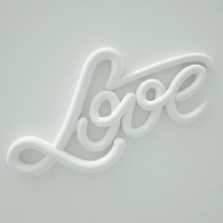 Анимация На серо-белом фоне появляющаяся надпись Love / любовь