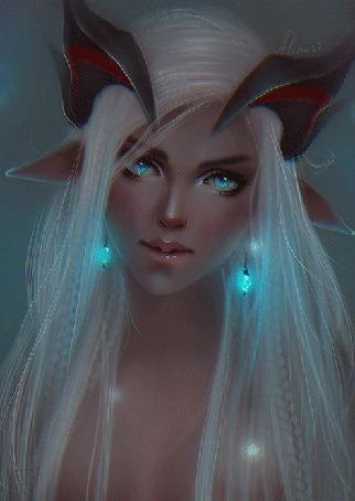Анимация Белокурая голубоглазая девушка с острыми ушами и рогами, со светящимися голубыми серьгами, by Alenari