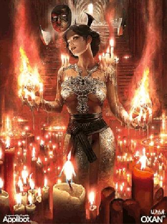 Анимация Девушка окутанная свечами, стоит около множества свечей и держит в руках те же свечи