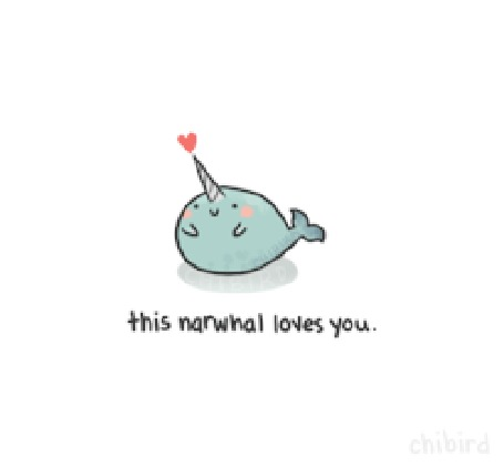 Анимация Нарвал признается в любви (this norwhal loves you / этот нарвал любит тебя)