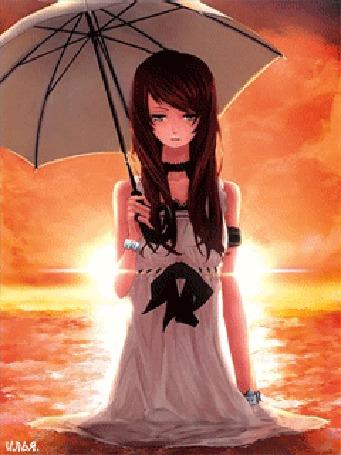 Анимация Грустная девочка в платье, с зонтиком в руке, стоит в воде на фоне светящего солнца
