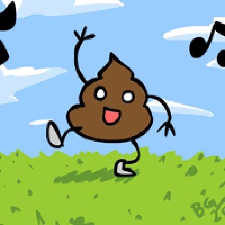 Анимация Счастливая какашечка танцует на зеленой травке на фоне облачного неба