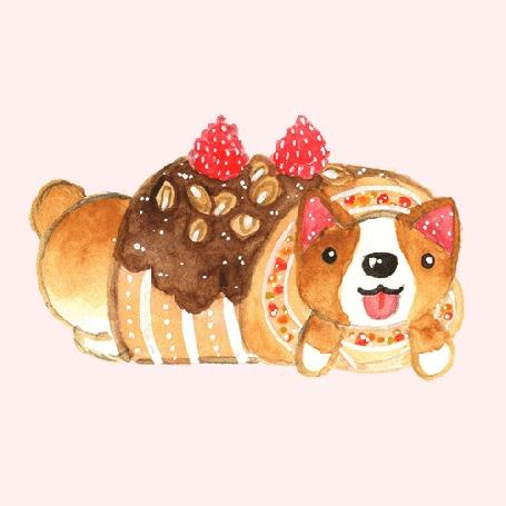 Анимация Счастливый песик - сладкий рулетик с орешками и малиной, политый шоколадной глазурью
