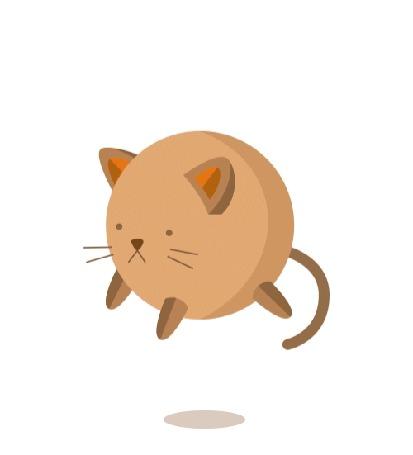 Анимация Пузатый, медленно двигающийся вверх вниз, кот