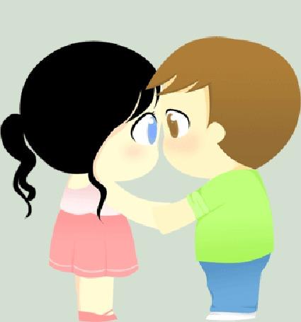Анимация Девочка и мальчик целуются держась за руки, by Magumii