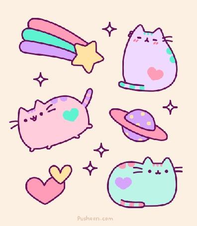 Анимация Три разноцветных котика с сердечками, планетой и падающей звездой, среди звездочек, в пастельных тонах (Кот Пушин / Pusheen the Cat)