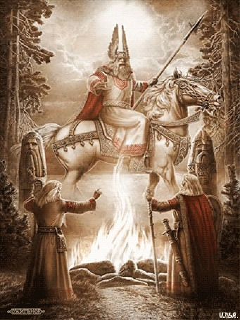 Анимация Два воина на лесной поляне около костра и пруда, встречаются с богом Сварогом, который сидит на лошади и держит копье в руке