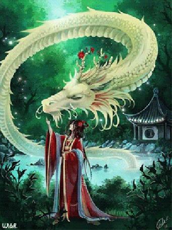 Анимация Девушка в красном кимоно, где-то на природе возле пруда и маленького домика напротив, гладит белого дракона, высунувшегося из воды