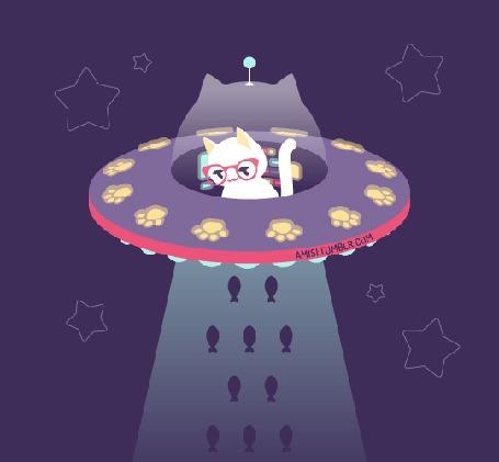 Анимация Белый котенок в очках покоряет космические просторы, сидя в летающей тарелке