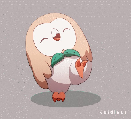 Анимация Роулет / Rowlet из аниме Покемон / Pokemon, by v0idless