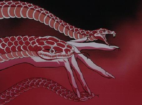 Анимация Рука Бэнисато / Benisato управляет тремя красными змеями, кадры из аниме Манускрипт ниндзя / Juubee Ninpuuchou