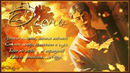 Анимация Сергей Есенин под листопадом (Листья падают, листья падают. Стонет ветер, протяжен и глух. Кто же сердце порадует? Кто его успокоит, мой друг?)