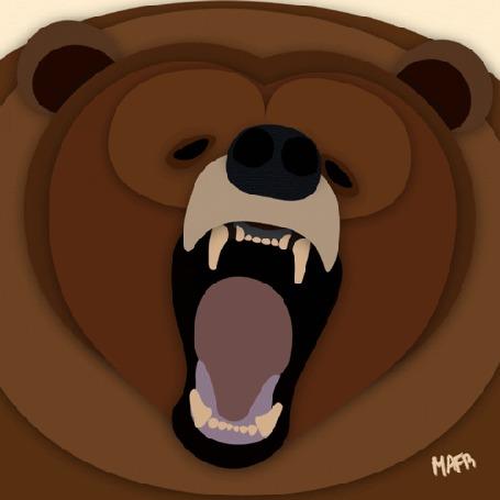 Анимация Рычащий бурый медведь, by Mafr