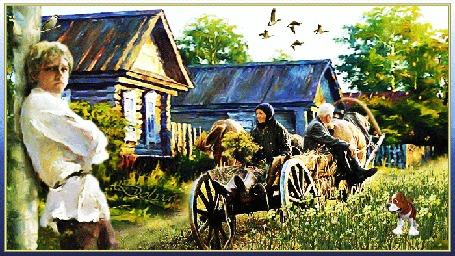 Анимация Сергей Есенин стоит оперившись на колонну, а на заднем фоне дед с бабкой едут по деревне на телеге