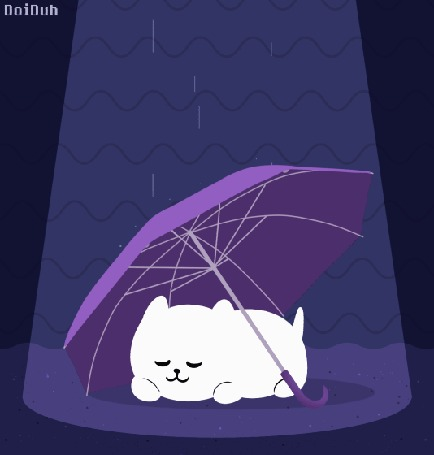 Анимация Белый щеночек спит под сиреневым зонтом в дождь, by DoiDuh