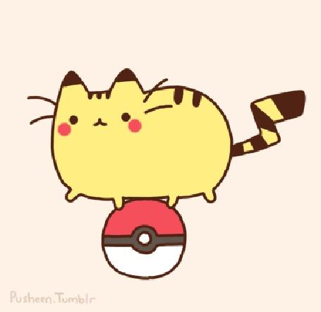Анимация Кот Пушин / Pusheen в образе Пикачу / Pikachu из серии игр, манги и аниме Покемон / Pokemon на крутящемся покеболе