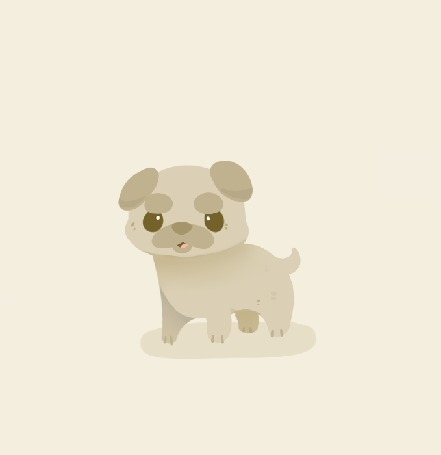 Анимация Пес породы мопс на светлом фоне, by PrePAWSterous