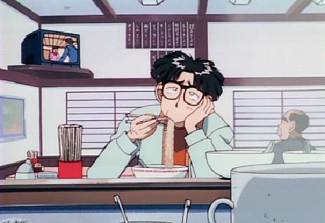 Анимация Хироши Каригари из аниме Boku no Marie / My Dear Marie / Моя дорогая Мари с вселенской мукой на лице ест рамен