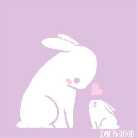 Анимация Маленький крольчонок смотрит на крольчиху, by PrePAWSterous