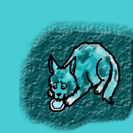 Анимация Кошка жадно лакает воду из миски