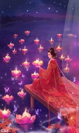 Анимация Девушка в красном японском халате сидит на пирсе у воды, в которой плавают цветы лотоса