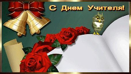 Анимация Красные розы лежат под школьными звоночками, на болом листе, где сидит маленькая игрушечная сова, глядя на падающую ручку-перо, и каллиграфическим почерком выводится фраза: Учитель - человек, который может делать трудные вещи легкими. (С Днем Учителя!)