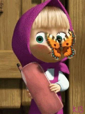 Анимация Маша с телефонной трубкой в руках и бабочкой на носу, кадры из мультсериала Маша и Медведь