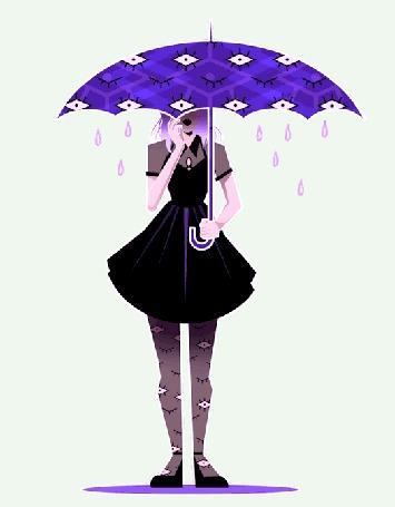 Анимация Девушка с зонтом с моргающими глазами на нем и на ногах стоит в луже