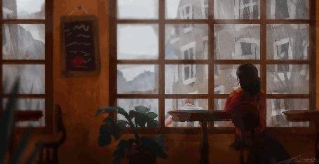 Анимация Девушка смотрит в окно, за которым идет дождь