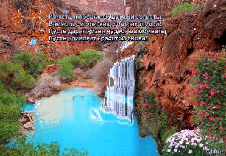 Анимация Очень красивый природный уголок с бирюзовым водопадом и небольшим озером среди отвесных скал, покрытых зеленью и цветами, над которыми радостно порхают бабочки, (И пусть любовью будут дни согреты, Вниманьем близких, дорогих людей! Пусть дарит жизнь чудесные моменты, Пусть удивляет красотой своей!), Сhloe