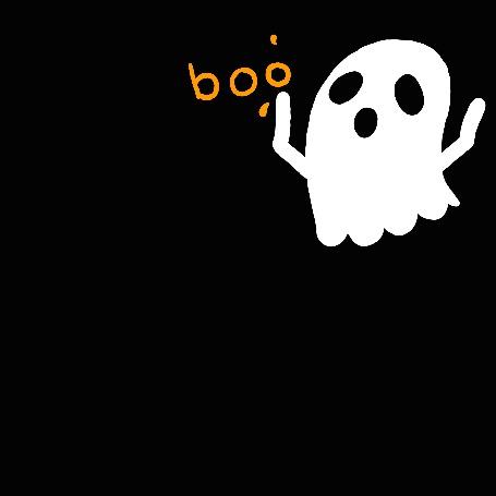 Анимация Белый призрак на черном фоне с оранжевым словом (boo / бу), by Cannibal-Muffin