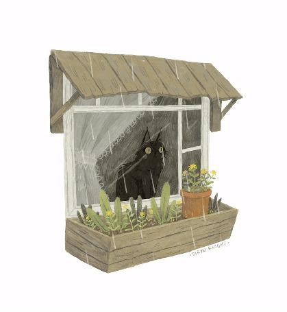 Анимация Кошка смотрит на дождь за окном, by Taryn Knight