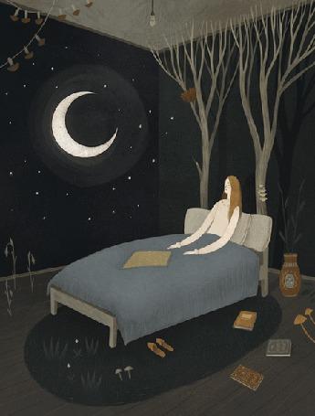 Анимация Девушка на кровати в комнате с ночным небом и луной
