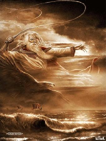 Анимация Бог ветра Стрибог своим кнутом посылает ветер плывущим по морю кораблям, над которыми пролетает орел