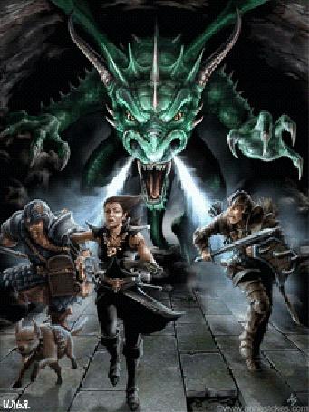 Анимация Трое бойцов и собака, спасаются бегством от преследующего их зеленого дракона