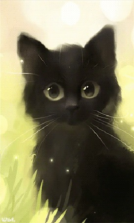 Анимация Черный котенок сидит в траве на фоне солнечных бликов, art by Apofiss
