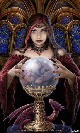 Анимация Волшебница в своем замке и рядом находящийся дракон прикасается руками к стеклянному шару, который показывает летящего дракона. Картинка автора Anne Stokes