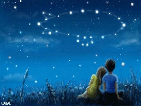 Анимация Мальчик и девочка сидящие друг с другом где-то в поле, смотрят на звездное небо, на котором видно созвездие дирижабля