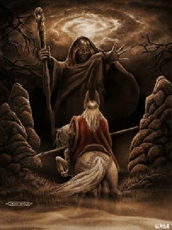 Анимация Всадник на лошади с копьем в руке и щитом на плече встречается с Вельвой-прорицательницей