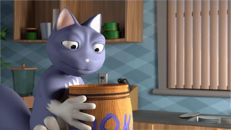 Анимация Кошка ищет в бочке печеньки