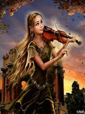 Анимация Девушка на фоне осенних веток деревьев, падающих листьев и различных строений играет на скрипке