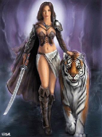 Анимация Воительница с мечом в руке вместе с тигром, шагают по воде, где-то в пещере